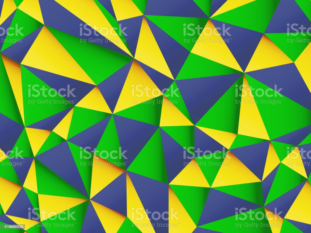 Polygonal background with Brazil flag colors vector art illustration