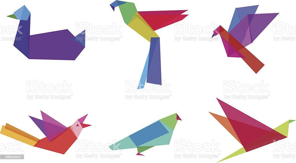 Polygonal Birds vector art illustration