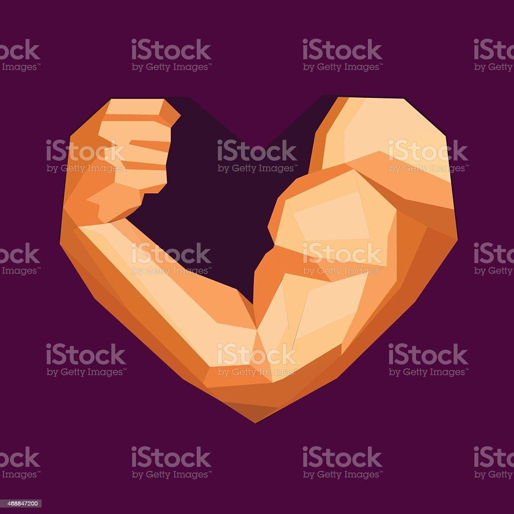 Polygonal bodybuilder's hand with biceps in heart shape. Gym vector art illustration