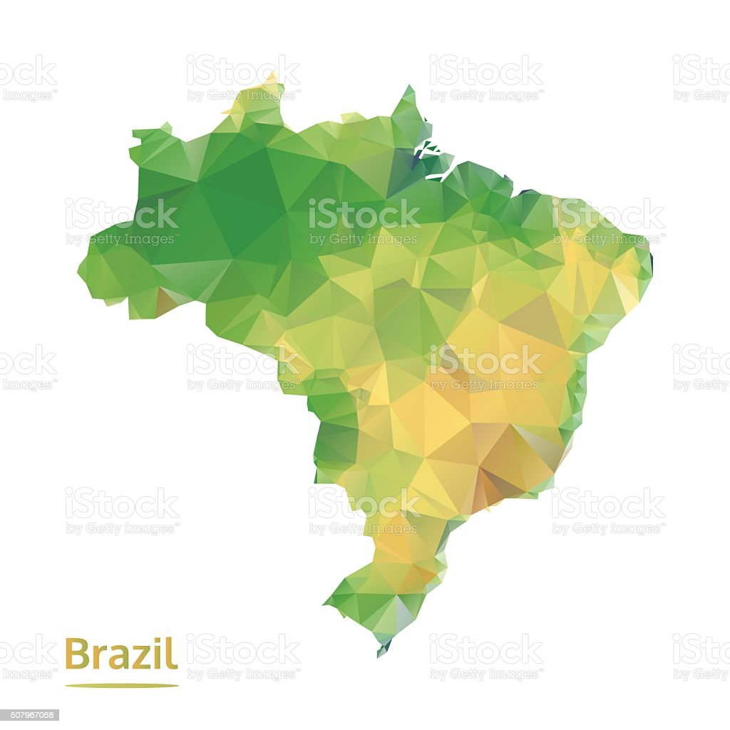polygonal brazil map, polygon abstract map, isolated vector vector art illustration