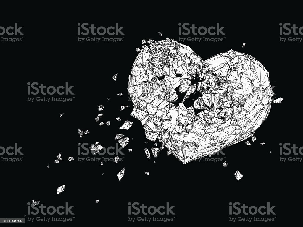 Polygonal  broken heart graphic in black and white vector art illustration