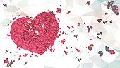 polygonal broken heart illustration on low poly BG