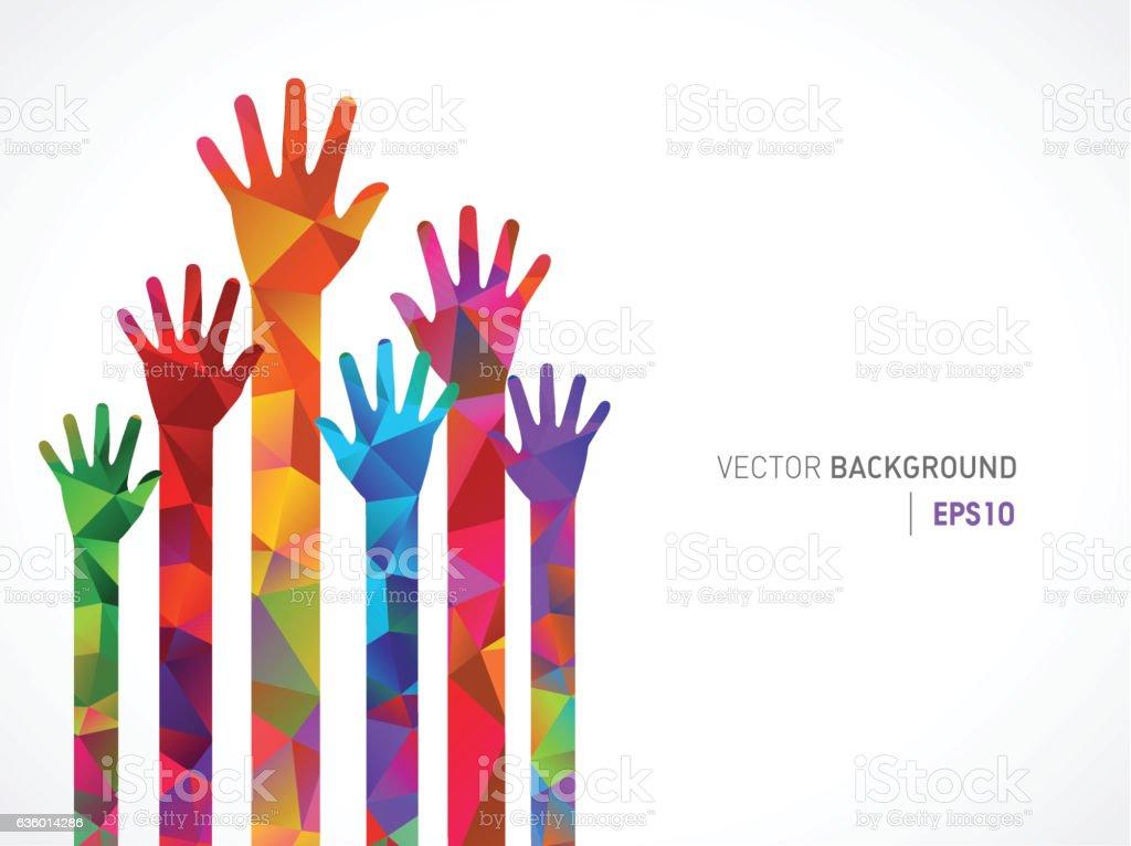 Polygonal Colored Human Hands vector art illustration