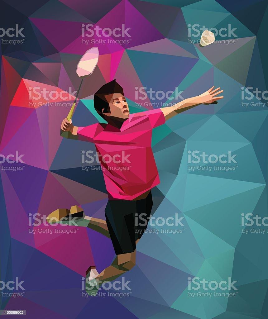 Polygonal colorful badminton player vector art illustration