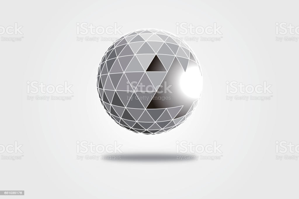 3D polygonal crystal ball, explosive triangular fragment vector art illustration