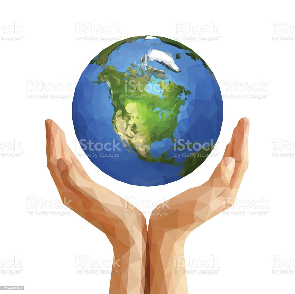 polygonal cupped hands that hold polygon planet earth america wh vector art illustration