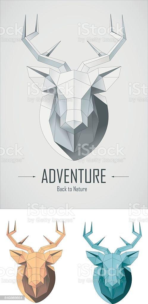 polygonal deer head vector art illustration