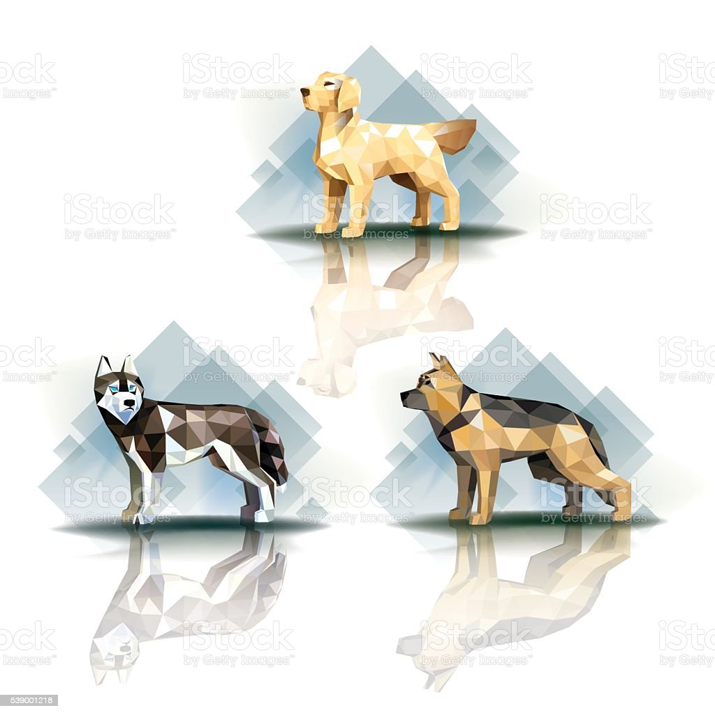 Polygonal dogs vector art illustration