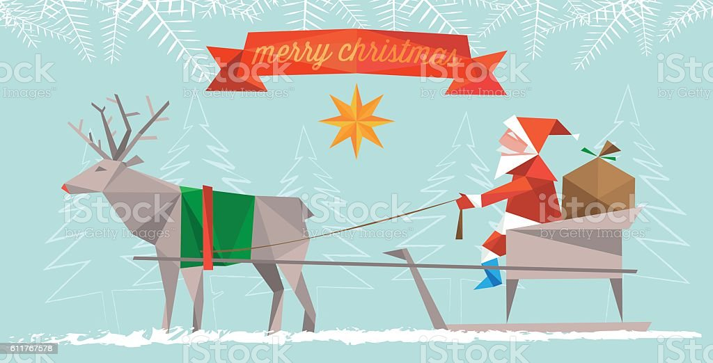polygonal flat christmas illustration of santa claus with reindeer sleigh vector art illustration