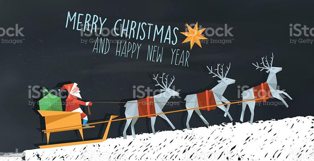 polygonal folded santa claus and reindeer sleigh on blackboard vector art illustration