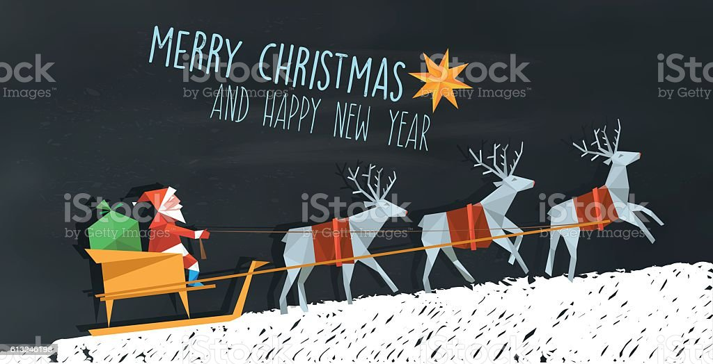 polygonal folded santa claus and reindeer sleigh on blackboard vector art illustration