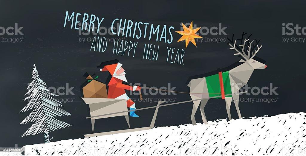 polygonal folded santa claus and reindeer sleigh on chalkboard vector art illustration