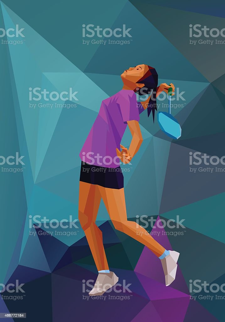 Polygonal girl badminton player on low poly back vector art illustration
