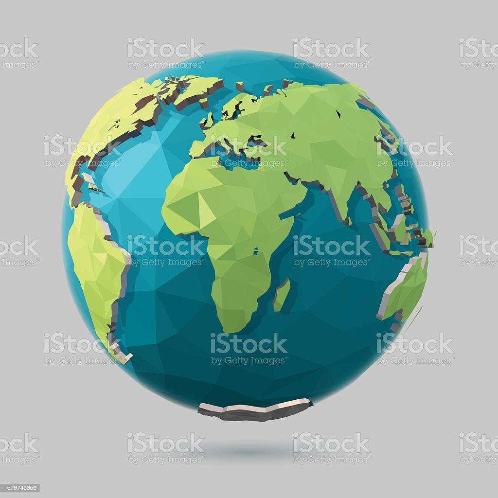 Polygonal Globe Icon vector art illustration