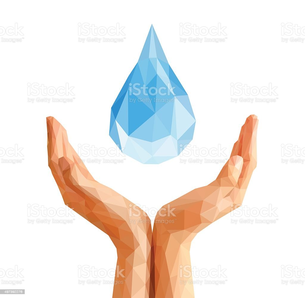 polygonal hands cupped support drop of water vector art illustration
