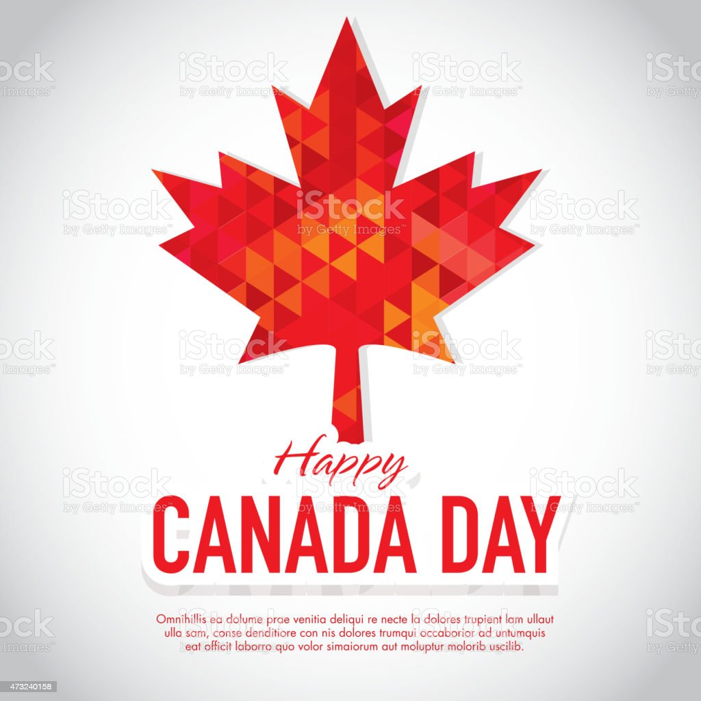 Polygonal Happy Canada Day Celebration greeting card design template vector art illustration