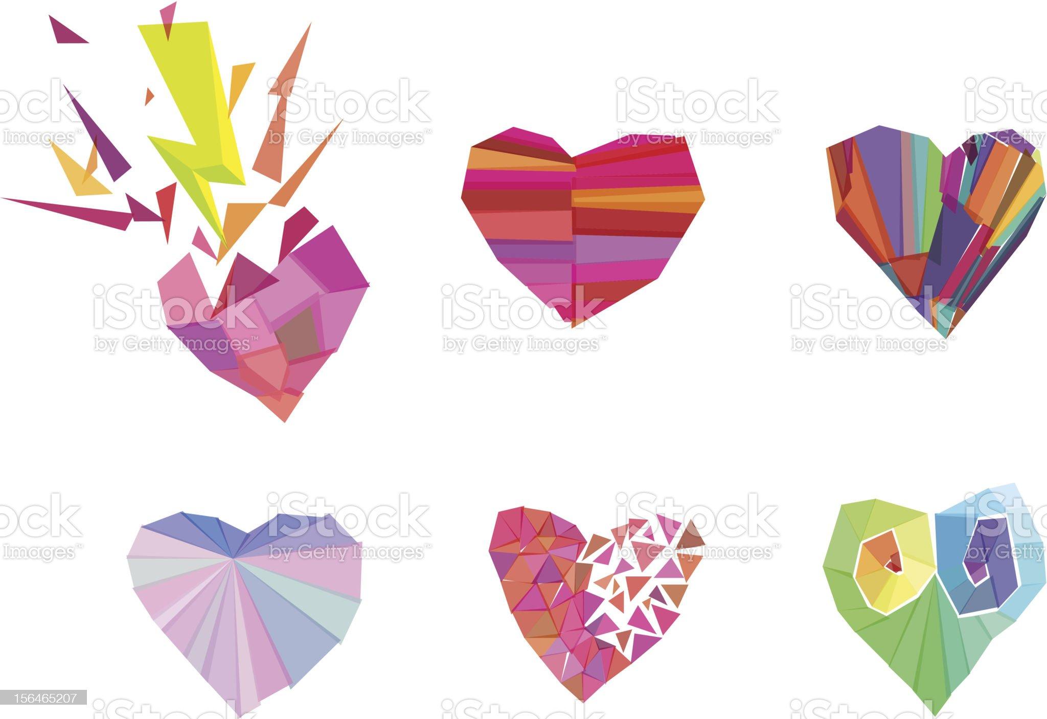 Polygonal Hearts royalty-free stock vector art