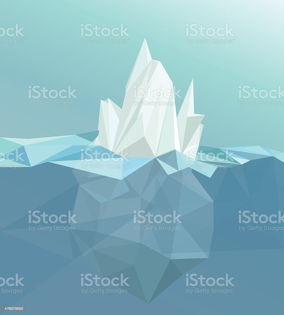Polygonal iceberg, glacier landscape vector art illustration