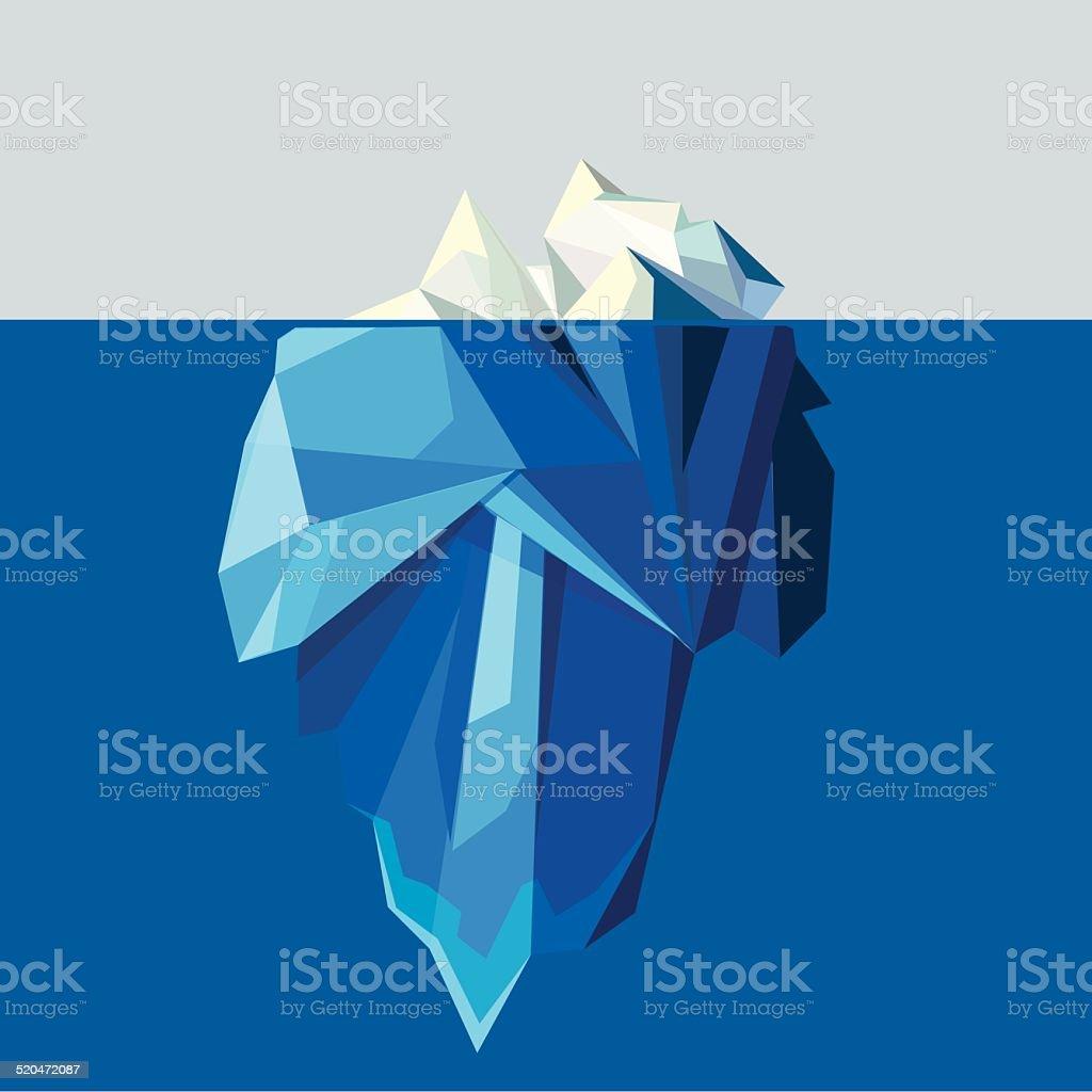 polygonal iceberg glacier landscape vector illustration vector art illustration