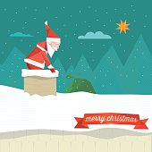 polygonal illustration of santa claus jumping into the smoke stack