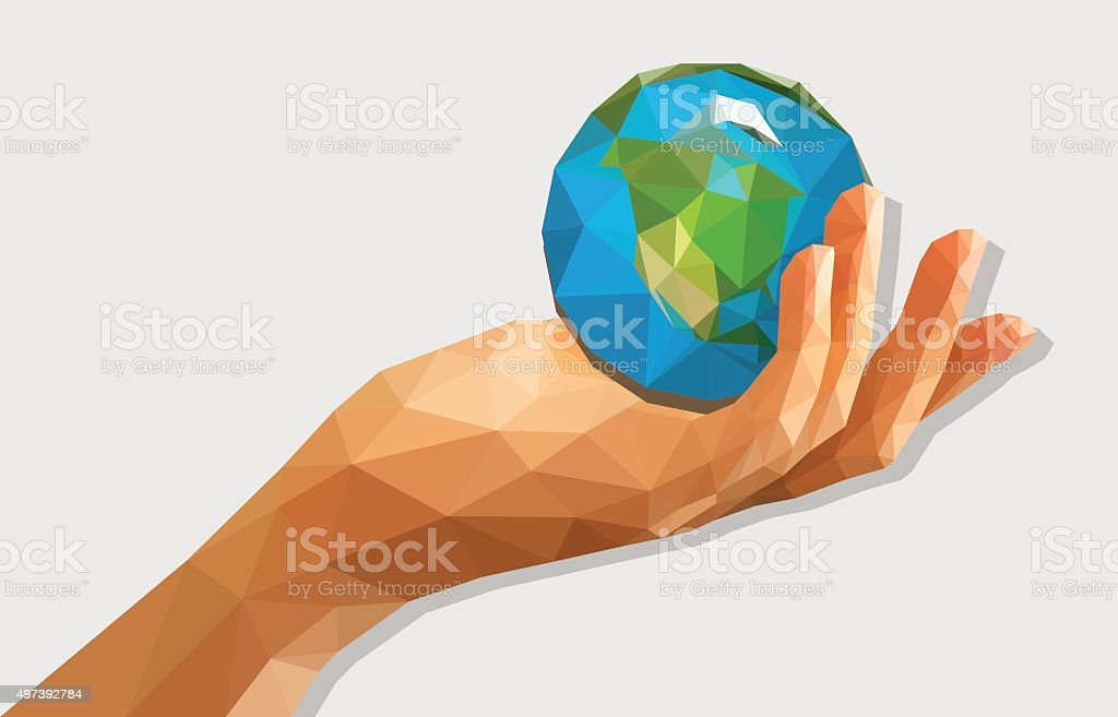 polygonal low poly disclosed cupped left hand holding a globe vector art illustration