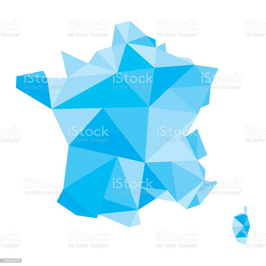 polygonal map of France vector art illustration