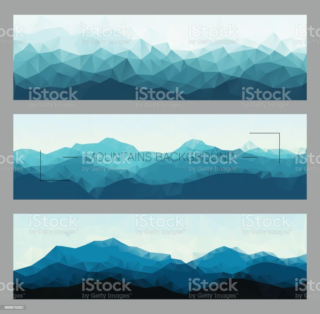 Polygonal mountain ridges. Set of outdoor vector illustrations. vector art illustration