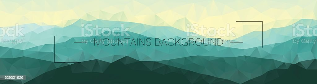 Polygonal mountains background. Geometric abstract landscape. vector art illustration