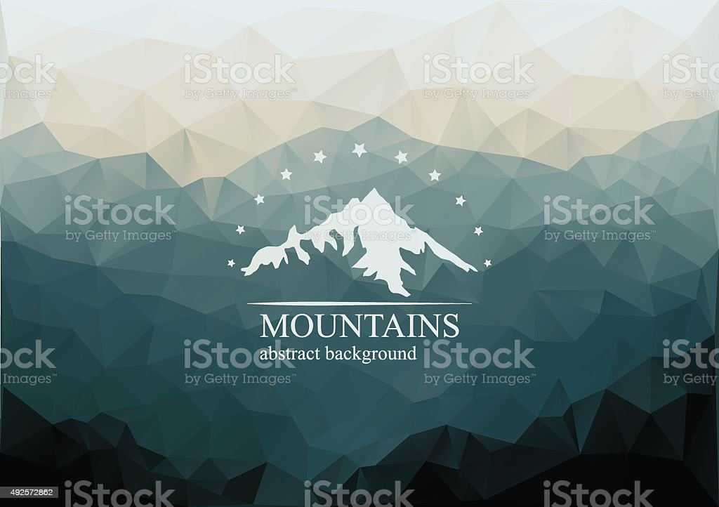 Polygonal mountains background with logo on the middle. vector art illustration