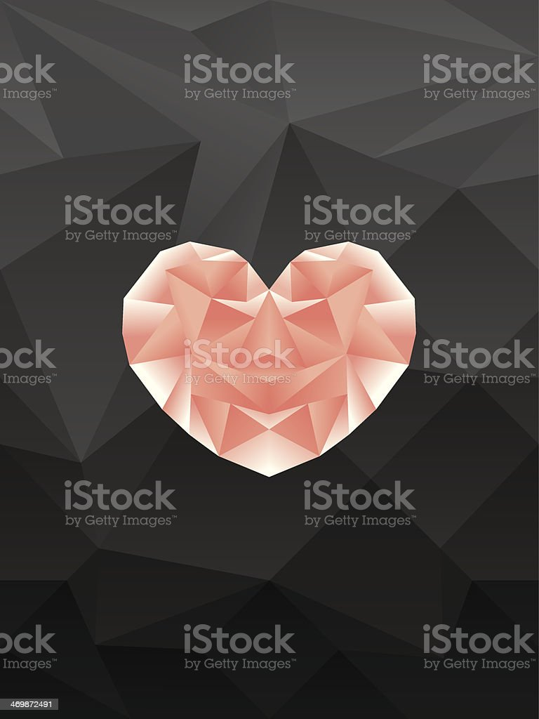 polygonal pink heart background royalty-free stock vector art