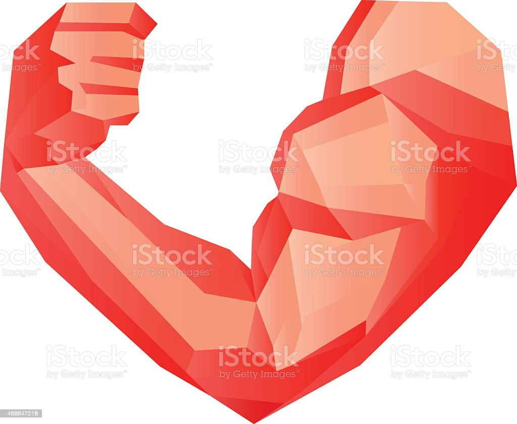 Polygonal red bodybuilder's hand with biceps in heart shape vector art illustration