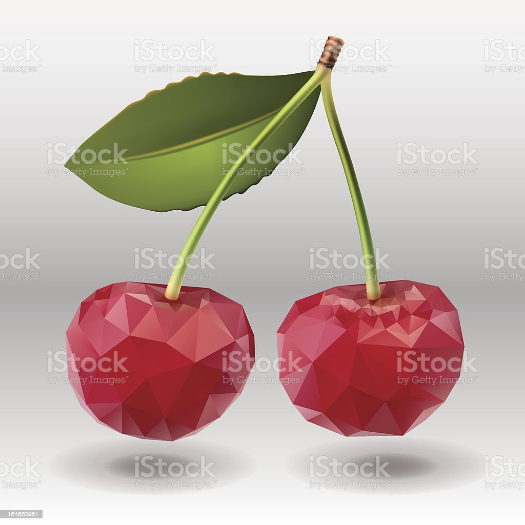 Polygonal red cherry berries with green leaves. royalty-free stock vector art