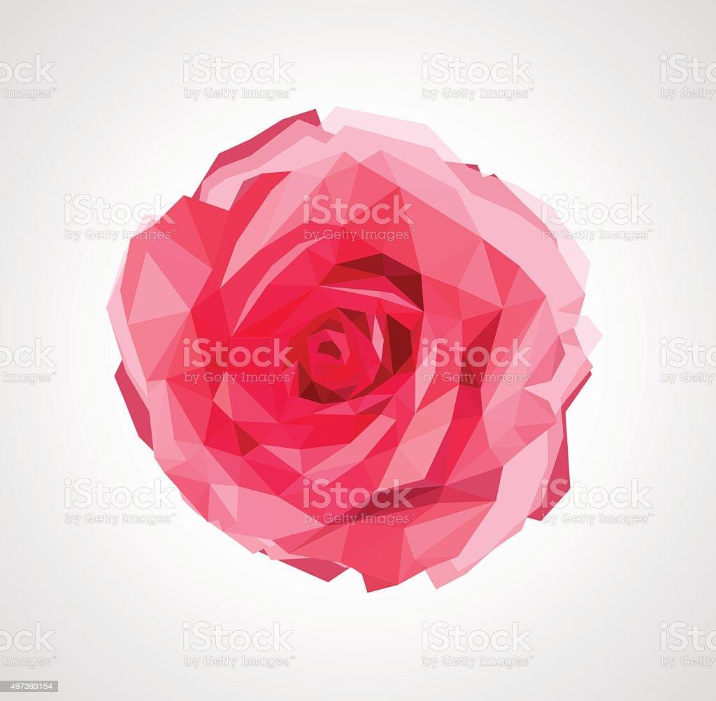 polygonal rose that bloomed vector art illustration