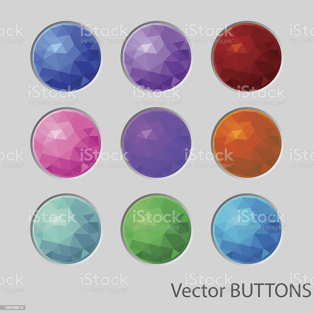 Polygonal round buttons. design elements royalty-free stock vector art