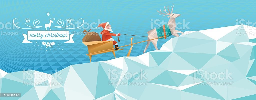 polygonal santa with reindeer sleigh in abstract winter landscape vector art illustration