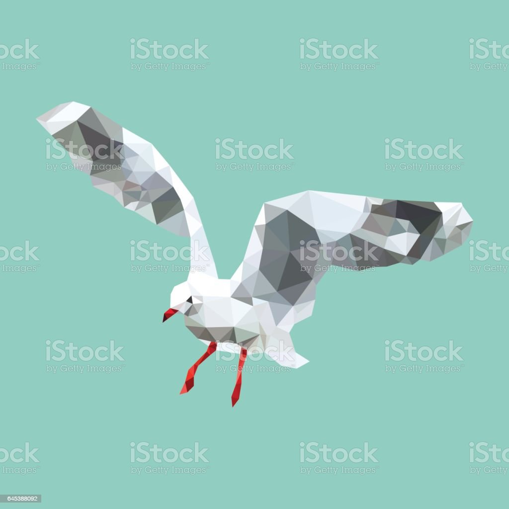 polygonal seagull, geometric polygon bird, isolated vector animal vector art illustration