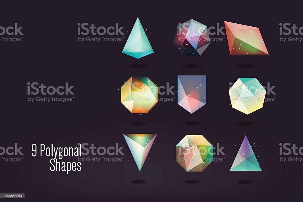 polygonal shape vector illustration vector art illustration