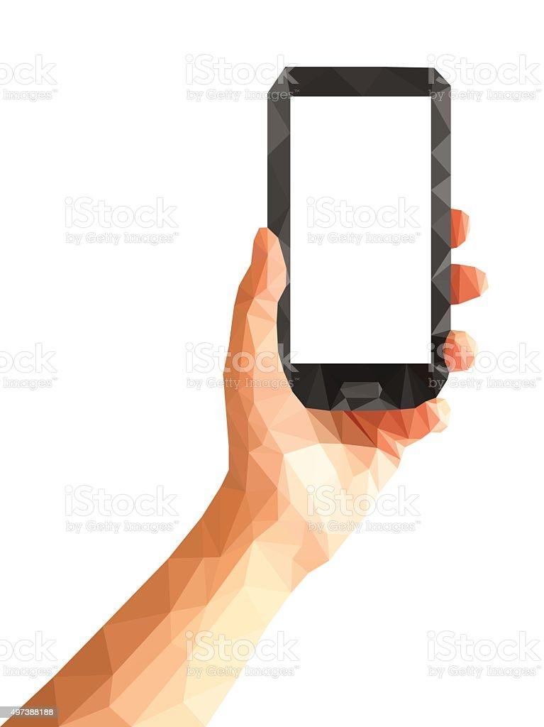 polygonal technique hand holding white blank screen phone vector art illustration