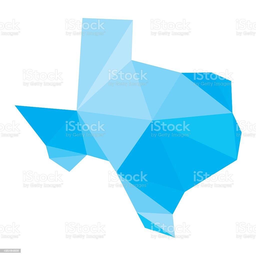 polygonal Texas map vector art illustration