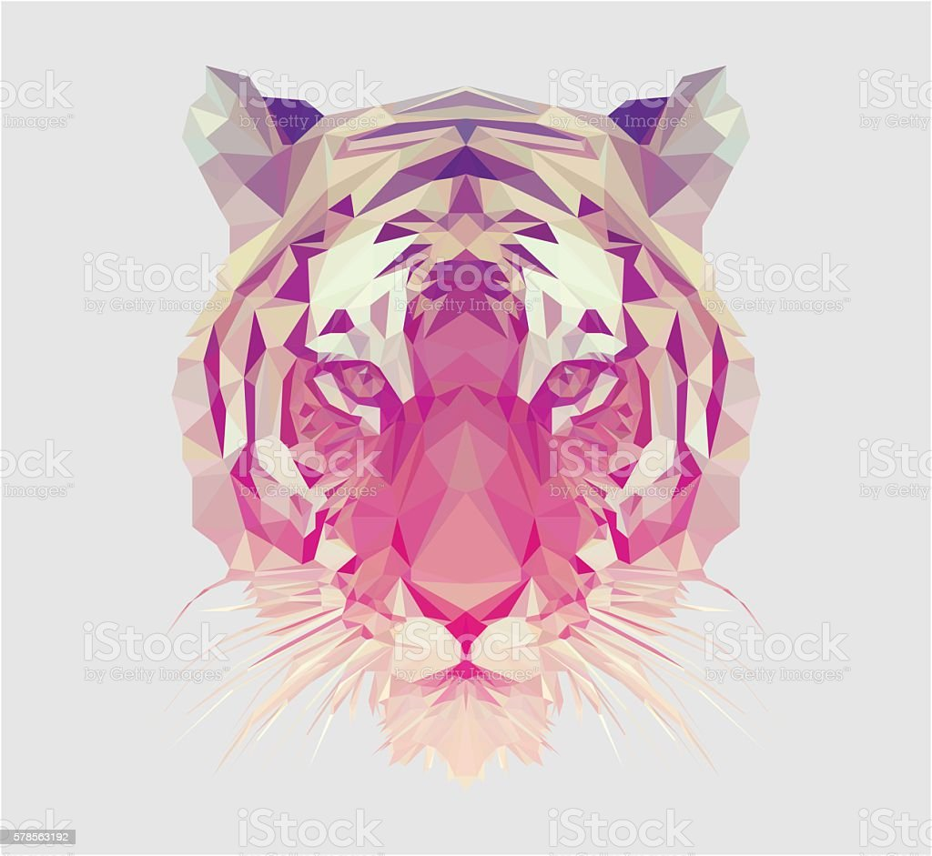 Polygonal Tiger Portrait vector art illustration
