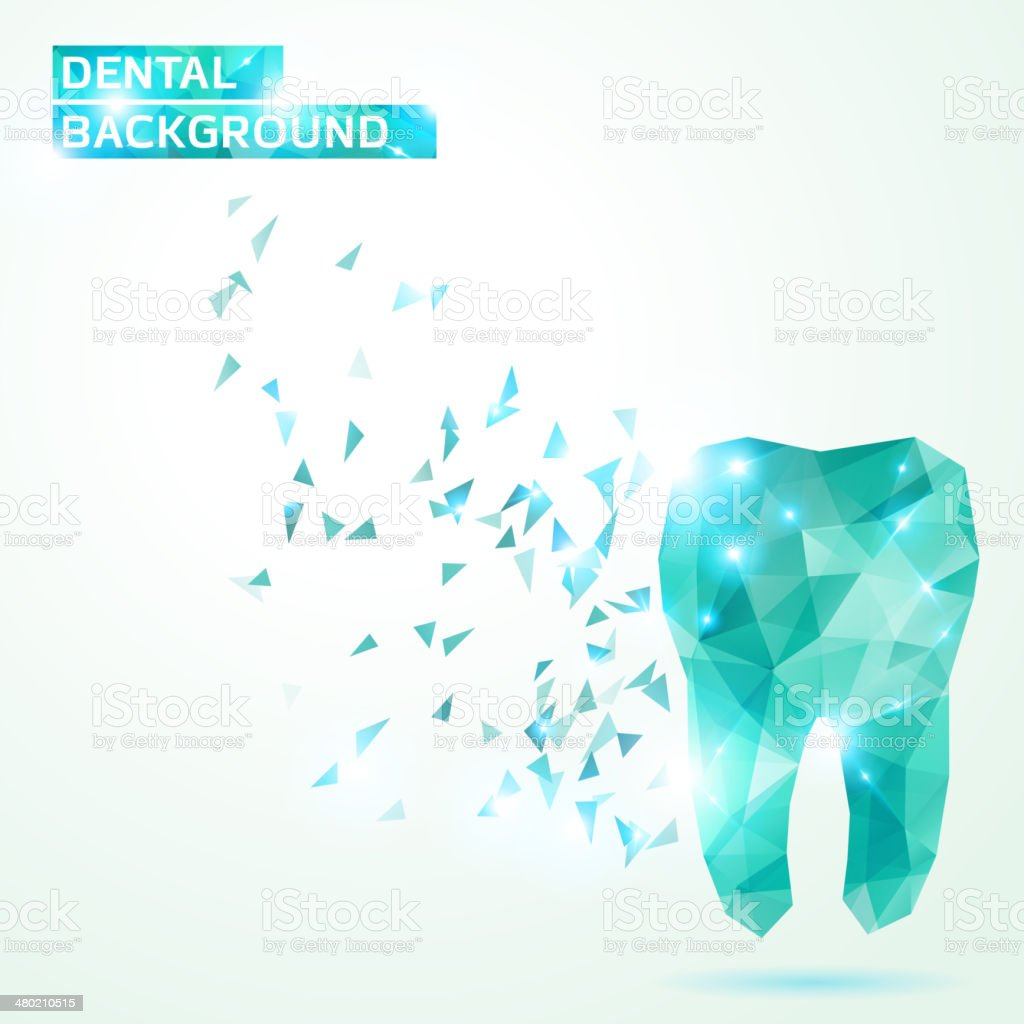 Polygonal turquoise vector tooth. vector art illustration