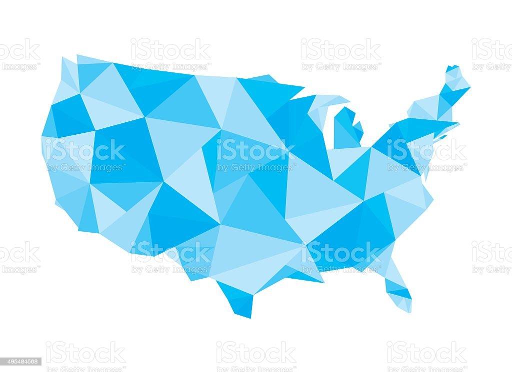 polygonal United States map vector art illustration