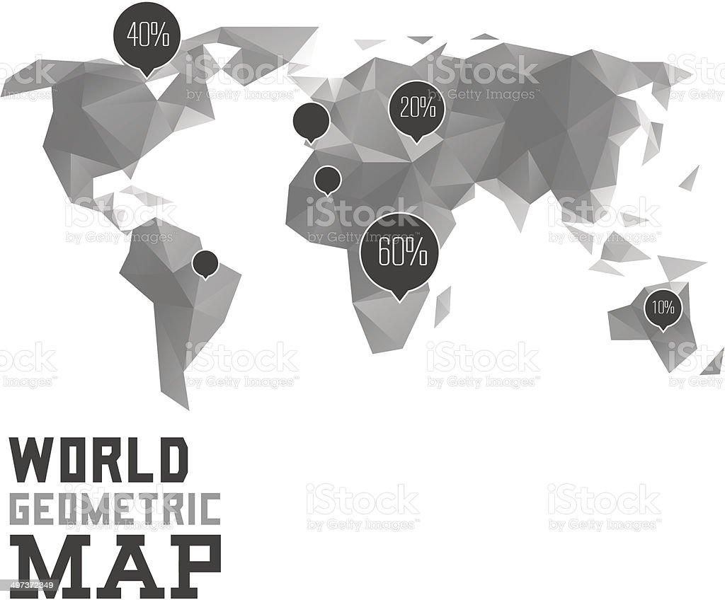 Polygonal World Map Infographics royalty-free stock vector art
