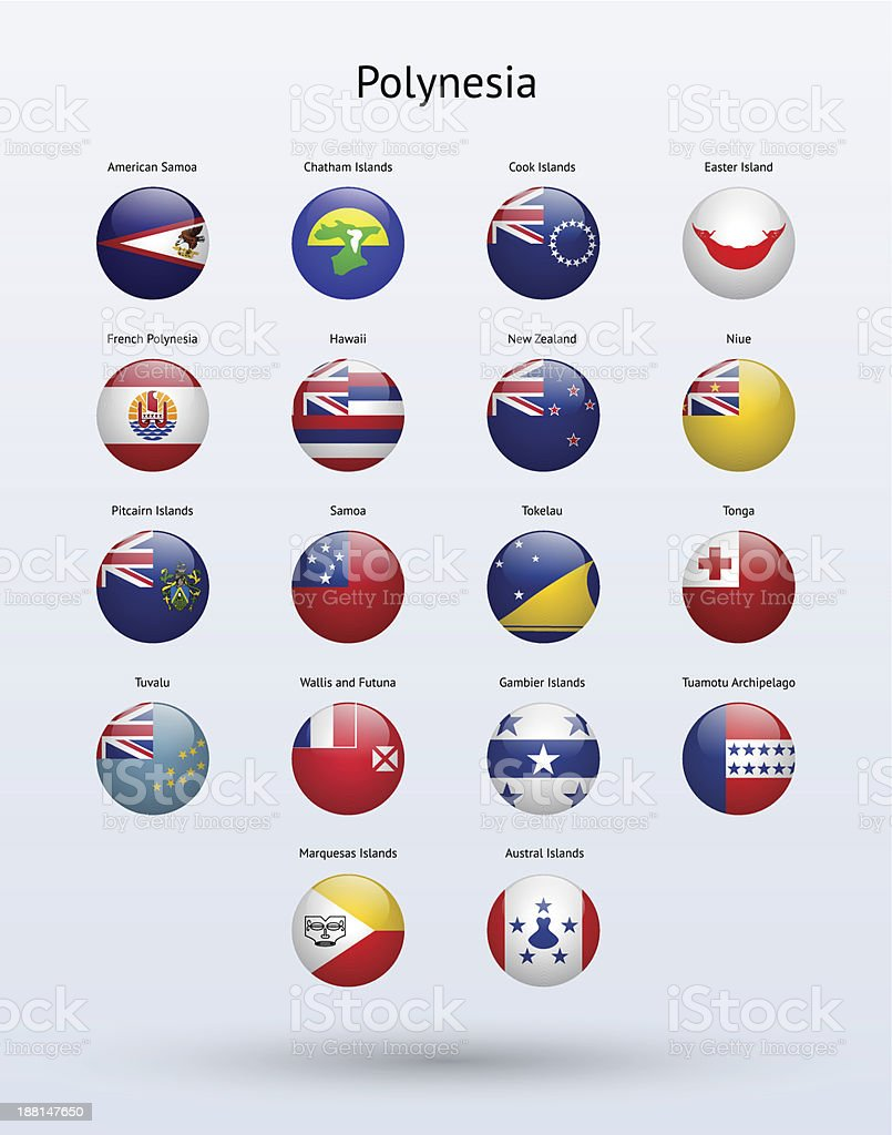 Polynesia Round Flags Collection royalty-free stock vector art