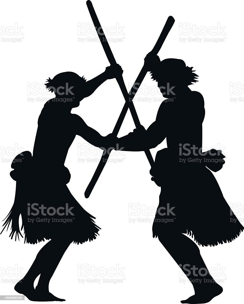 Polynesian warrior dance vector art illustration