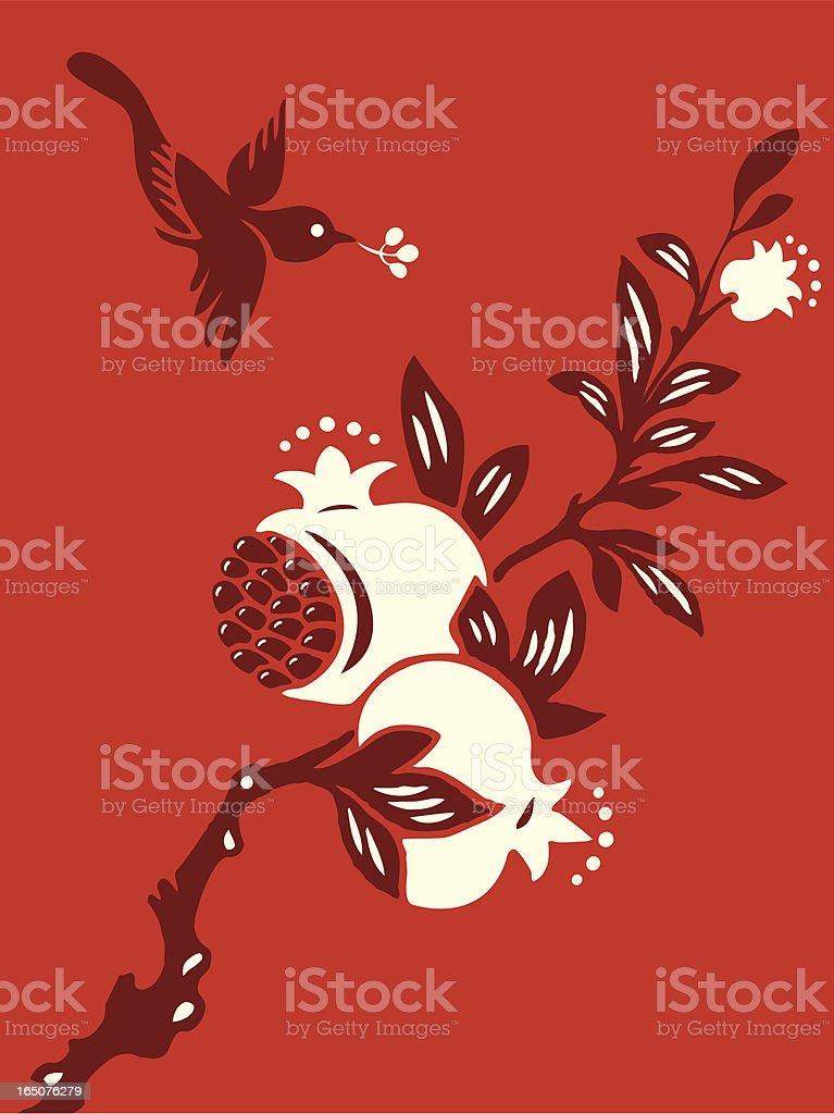 Pomegranate Bird Delight vector art illustration