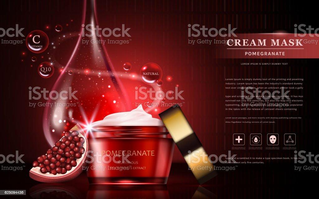 Pomegranate cream ads vector art illustration