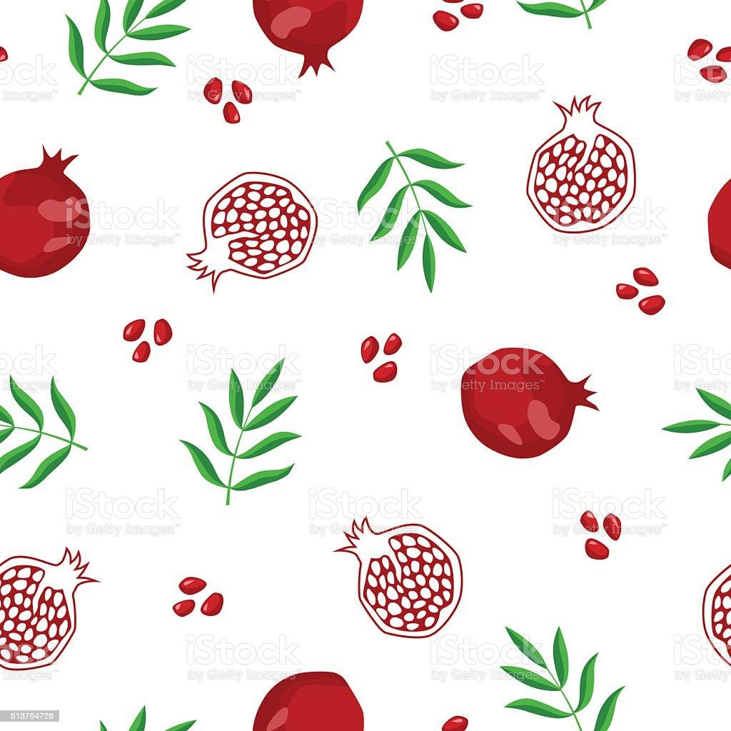 Pomegranate fruit seamless pattern red green illustration vector vector art illustration