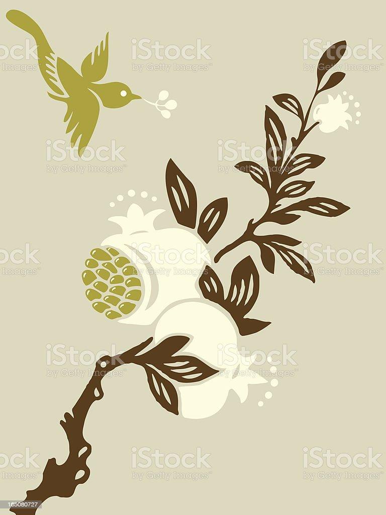 Pomegranate Tree & Bird royalty-free stock vector art