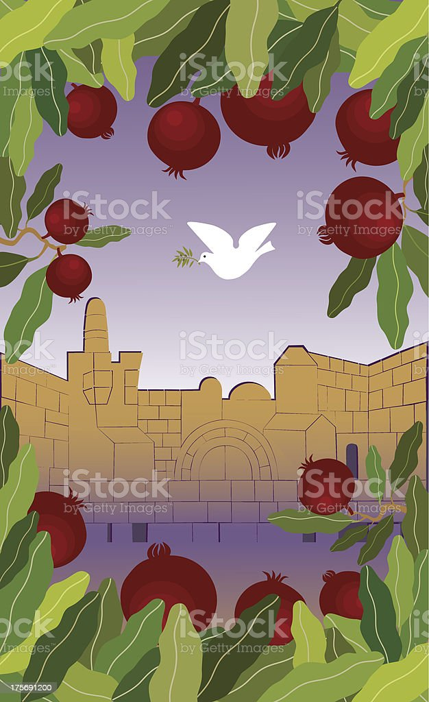 Pomegranates Frame and Dove Flying Above Jerusalem royalty-free stock vector art